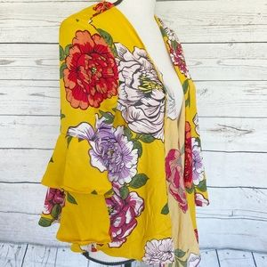 Yellow Floral Open Cardigan